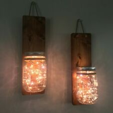 Mason Jar Hanging Wall Sconce Hanging Wall Planter w/ Optional LED Fairy Lights