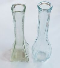 Vintage Clear Glass Bud Vases, Lot of 2