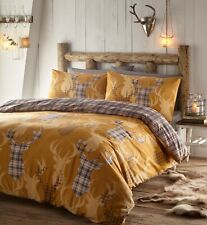 Tartan Stag Duvet Cover Set Mustard and Grey Double Size Polycotton Reversible