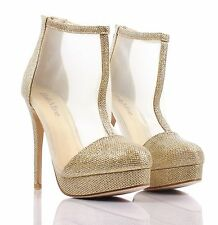Gold Glitter Dress High Heels Booties Sandal Womens Stiletto Shoes Size 7.5