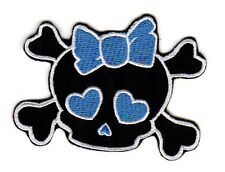 SKULL HEARTS & BOWS EMBROIDERED IRON ON PATCH cute girly hot topic punk