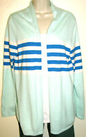 Talbots Women's Turquoise Striped Cotton Blend Open Cardigan Sweater Size Medium