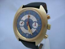 NOS NEW RARE SWISS GOLD PLATED CHRONOGRAPH MEN'S ATLANTIC WATCH 1960'S WITH DATE
