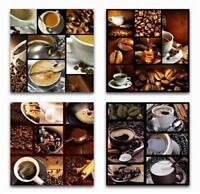 4 x Wandbilder Kaffee Bohnen Tasse 50 cm x 50 cm Milchkaffee Cappuccino Bilder