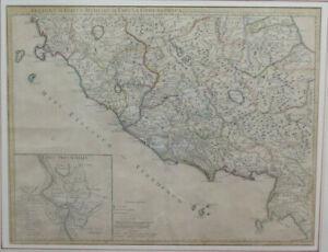 STAMPA ANTICA CARTA GEOGRAFICA CARTINA MAPPA ITALIA CENTRALE 1745 John Senex X9