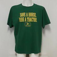 """John Deere Mens XL Shirt """"Save A Horse Ride A Tractor"""" Farming Farmer Green"""