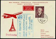 Austria, First Fly Cover, Wien - MÃœNchen - Paris, Year 1959, Austrian Airlines
