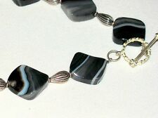 BEAUTIFUL HAND MADE BANDED AGATE NECKLACE WITH STERLING SILVER BEADS