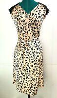 Alannah Hill 'Is It The Kiss?' Leopard Lace Wrap Dress Designer Casual Size 8
