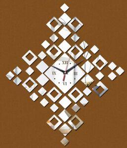 "NEW 24""x18"" DIY 48pc 3D Geometric Silver Mirrored Surface Acrylic Wall Clock Kit"
