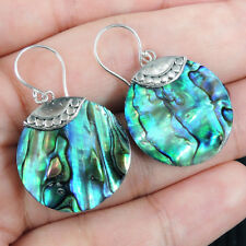 Small Round PAUA ABALONE SHELL 925 Sterling Silver Earrings Jewellery