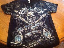 DaGrind Unlimited Down Fighting Black T-Shirt-Size L, NEW