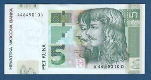 5 Kuna 2001. Croatia banknote, Zrinski-Frankopan, Varazdin Castle, rare banknote