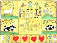 OrIgInAl FoLk ARTWaTeRCoLoR PaInTiNg CoW GoAt KiDs HeArTs PiG ChIcKeN SALE!!!!