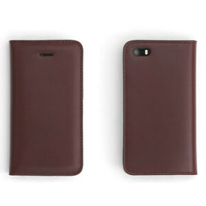 EH Genuine Leather Flip Wallet Case Cover Holder Wine Red For Apple iPhone 5 5s