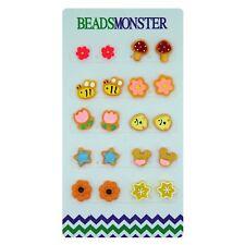 Color Cute Cartoon Magnetic Clip on Studs Earrings for Little Teen Girls Kids