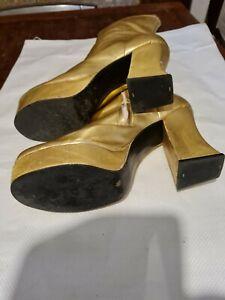 Vintage Gold 70s Platform Boots Unisex