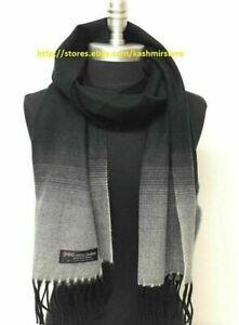 Men Women Winter Warm 100% CASHMERE SCARF Scotland Wool Wrap Fade Black / White
