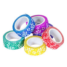 Pack of 6 Craft Paper Tape Rolls 15mm X 5m Floral Pattern Present Gift Wrapping