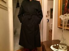 Burberry Vintage Dark Navy Blue Double Breasted Trench Coat- Size 12 Long