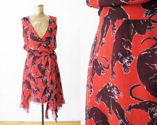Cacharel Red Panther Print Silk Dress XS S Wrap Sundress Handkerchief Hem