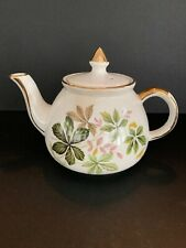 Vintage Gibsons Staffordshire England Tea Pot green pink leaves mid century 1950