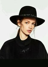 ZARA FELT HAT WITH STARRY VELVET BAND, SIZE UK M