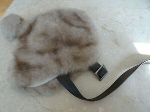 Vintage Girls United Hatters USA Tan Fur Hat w/Brown Buckle Chin Strap