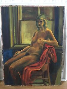 LARGE VINTAGE FEMALE NUDE OIL PAINTING ON BOARD LOVELY RICH COLOURS 76cm