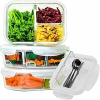 Glass Meal Prep Containers 3 Compartment with Cutlery Set | Glass Lunchbox | ...