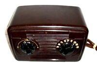 GE Art Deco Bakelite Plastic Case AM Tube Radio Model 112D Works Great !