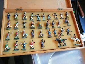 Vintage lead soldiers Unsure Of Age.- 34 Standing + 2 Horseback Soldiers Boxed