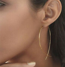 Gold Silver Black Modern Long Oval Linear Threader Earrings for Women Jewelry