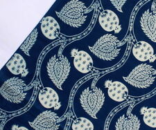 2.5 Yard Indian Blue Indigo Hand Block Print Cotton Fabric Dressmaking Sewing