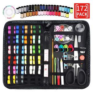 172PCS Portable Sewing Kit Thread Scissor Tape Pins Thimble Needle Pin Set UK QN