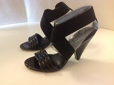 BCBGeneration Brandise Black Patent Elastic Heel 7 1/2  New Open Toe Sandal 8860