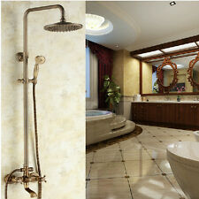 Wall Mounted Bathroom Shower Faucet Set Antique Brass Mixer Tap