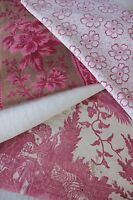 Antique French fabric vintage material PROJECT BUNDLE aged pink red patchwork