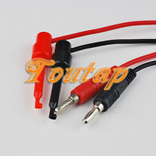 NEW 2 Sets 4mm Banana Plug Test Hook Clip Probe Cable Lead 1M for Multimeter B&R