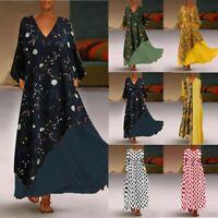 Plus Size Women Vintage V Neck Splicing Floral Print Sleeveless Long Maxi Dress