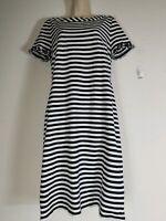 Talbots Womens Dress Knit Size M Black/White Stripe Ruffle Sleeve Career