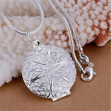 Fashion Womens Silver Charms Hollow Flower Photo Frame Pendant Chain Necklace