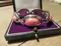 Schönes 835 Silber Armband Rosenquarz Rhodochrosit Designer Retro Vintage Top