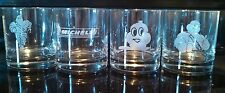 """Michelin Man Set of 4 Glassware Drinking Glasses UNUSED Etched 3 1/2"""" tall Promo"""