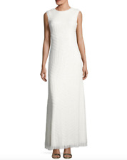 VERA WANG SEQUINED BACK CUT-OUT SLEEVELESS WHITE GOWN DRESS  sz 2