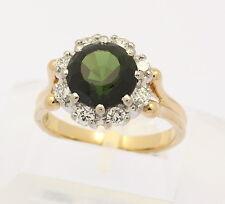 Ring in 18 kt 750er Gelb Weiß Gold mit Turmalin Grün Brillanten Brillant Diamant