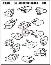 Verlinden 1/35 Assorted Hands (18 pieces) [Resin Soldier / Civilian Figure] 481