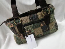 NEW DONNA SHARP HAZEL PATCH REESE BAG HANDBAG PURSE Green Brown Tan Leaves