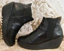 Fly London Yoss, Uk Size 5, EU 38, Black Leather, Wedge Ankle Boots