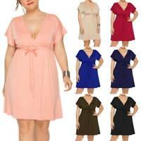 Womens Sexy Deep V Neck Tunic Mini Dress Cocktail Party Beach Sundress Plus Size